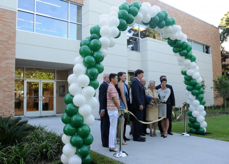 Community and Jacksonville University leaders officially open and dedicate the universitys new $8 million College of Health Sciences Building with a ribbon cutting.