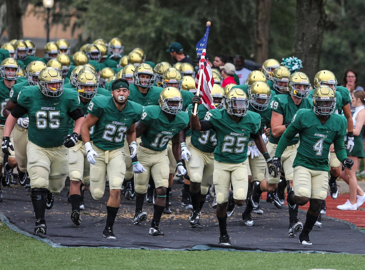 Saturday September 30: JU's football team honors veterans before home game against Guilford College.