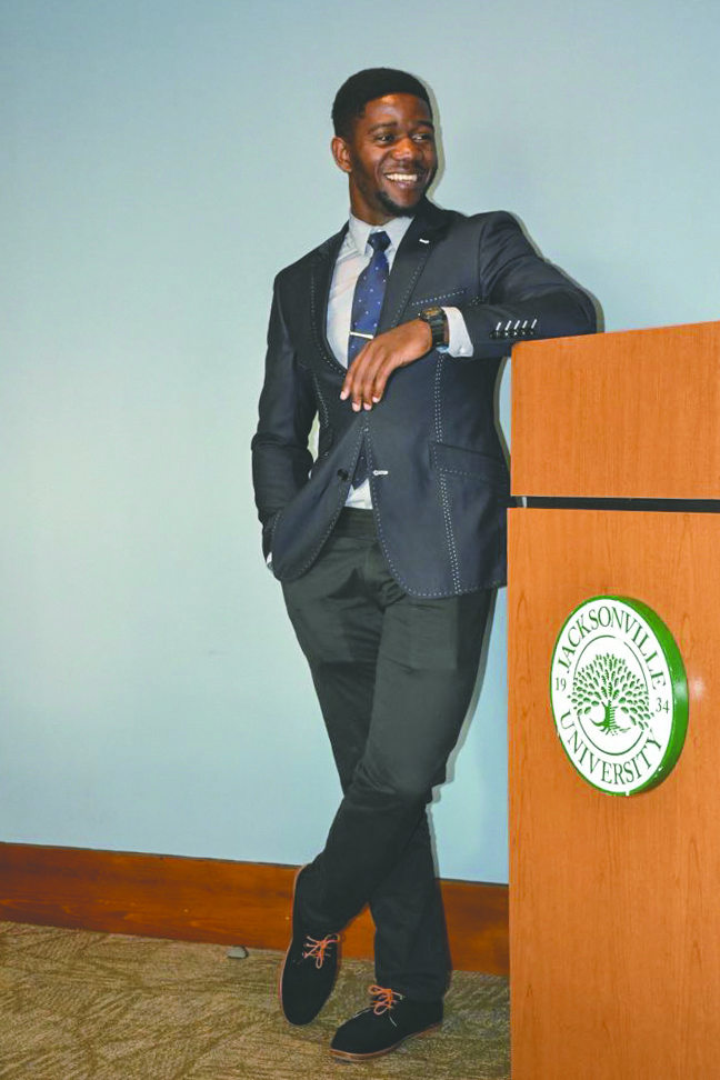 Nliba Nguimbous poses during a Student Government Alliance meeting.