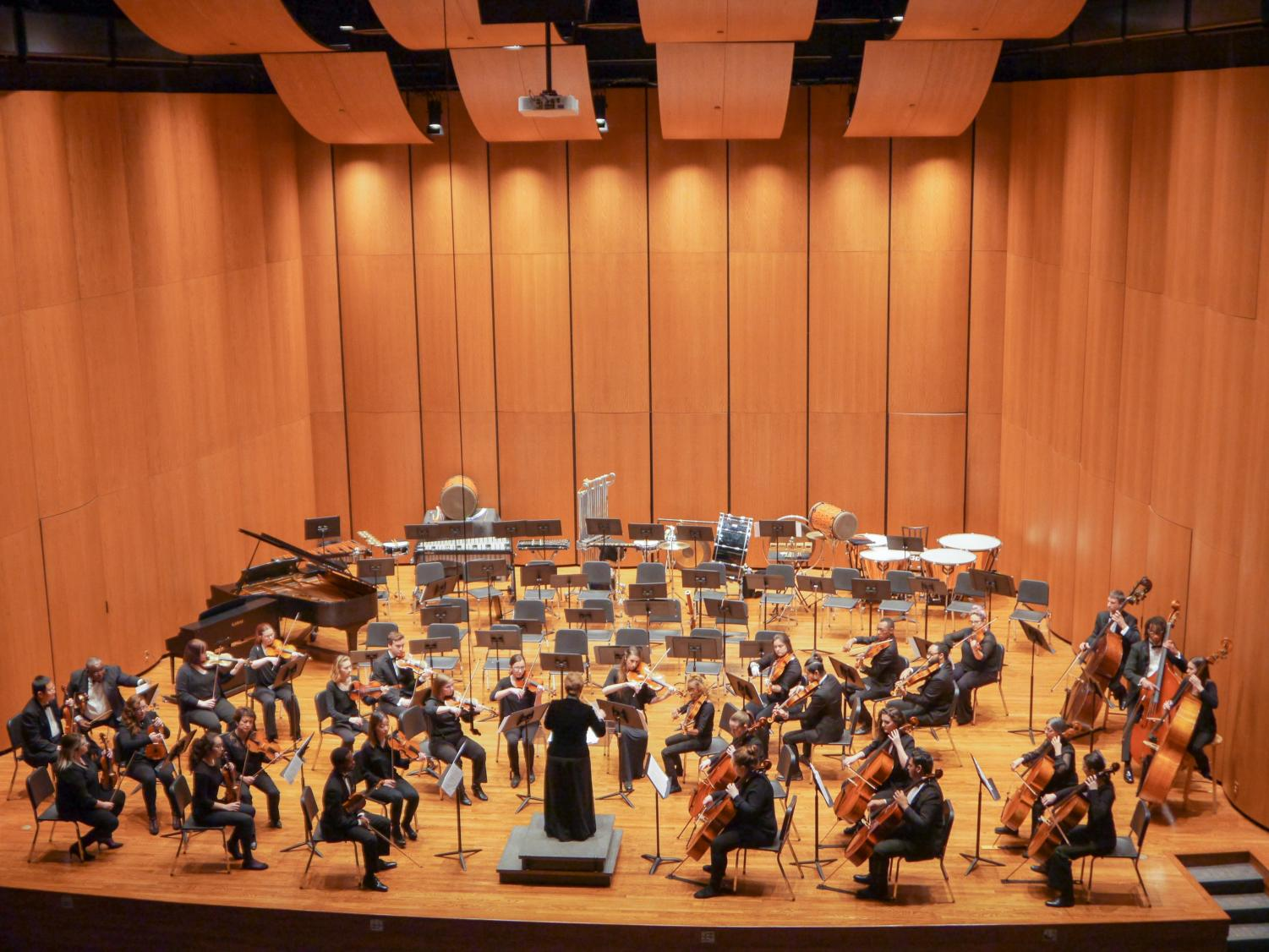 Violinists and cello players performing during Hot Off The Press! which took place March 6 at Terry Concert Hall.