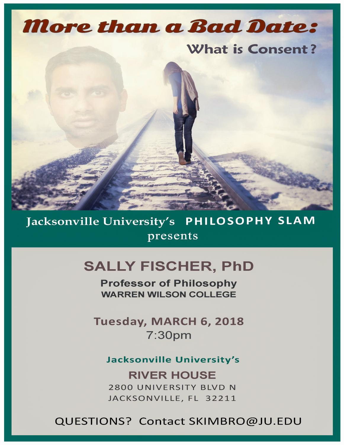 A poster displays information about the philosophy slam.