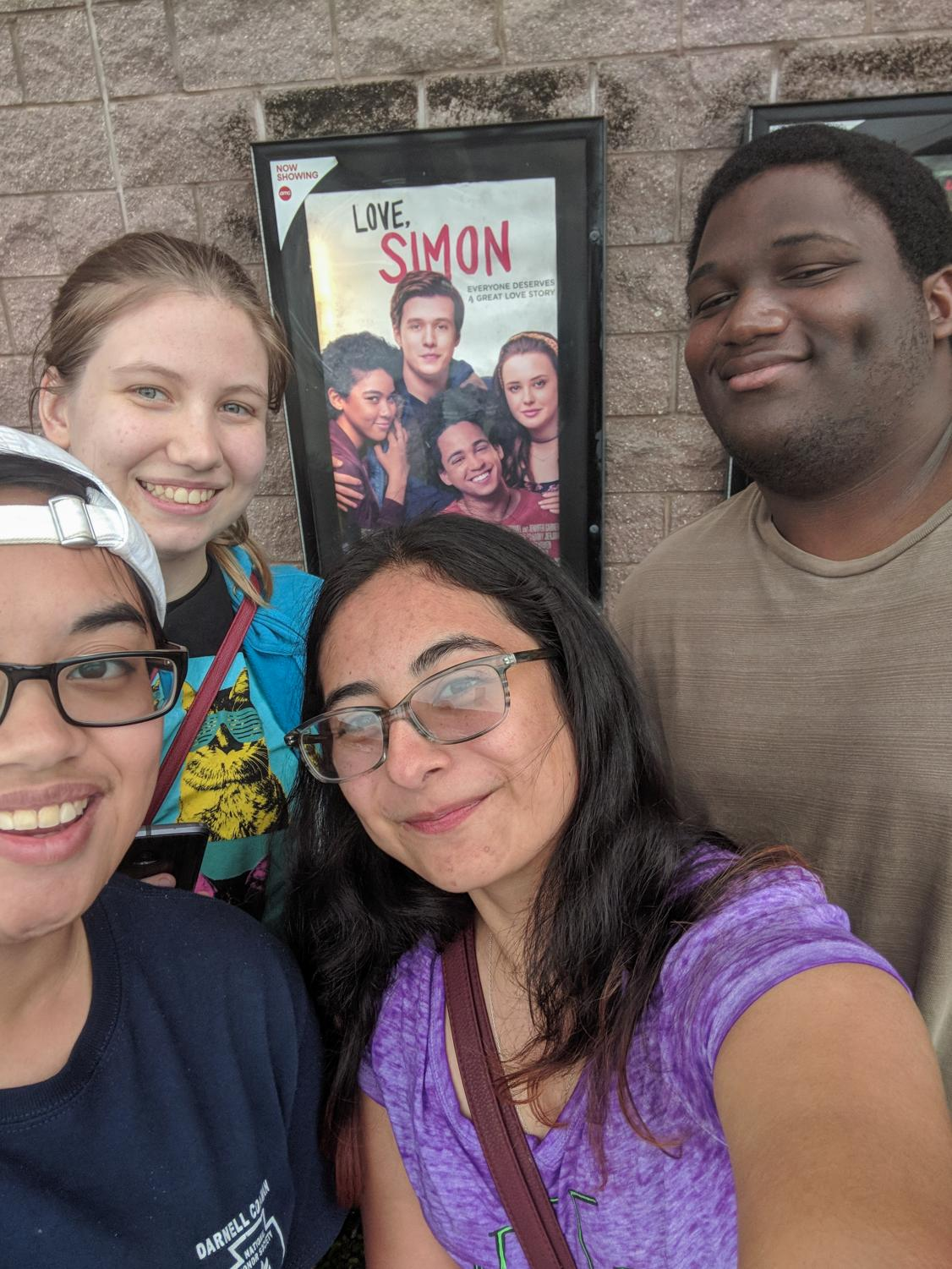 "From right to left: Joseph June, Jacqueline Cano, Crystal Cruz, and Sarah Diller during an outing to watch ""Love, Simon""."