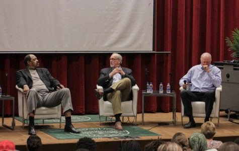 Artis Gilmore, Greg Nelson, and Rod McIntyre answer questions from the moderator Associate Professor of Sociology Heather Downs and students during the panel held on Feb.20. at the Gooding Auditorium.