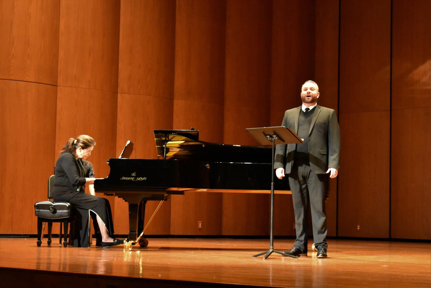 Todd Wedge and Edith Moore-Hubert performing at Terry Concert Hall.