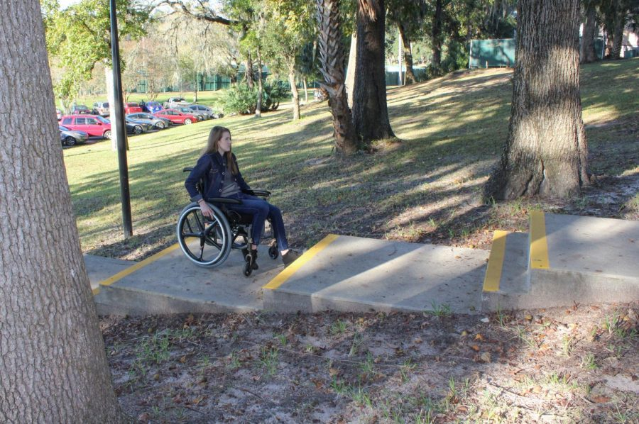 For her immersive journalism piece, Hannah Murray drove around campus on a wheelchair for almost a week to test JU's accessibility