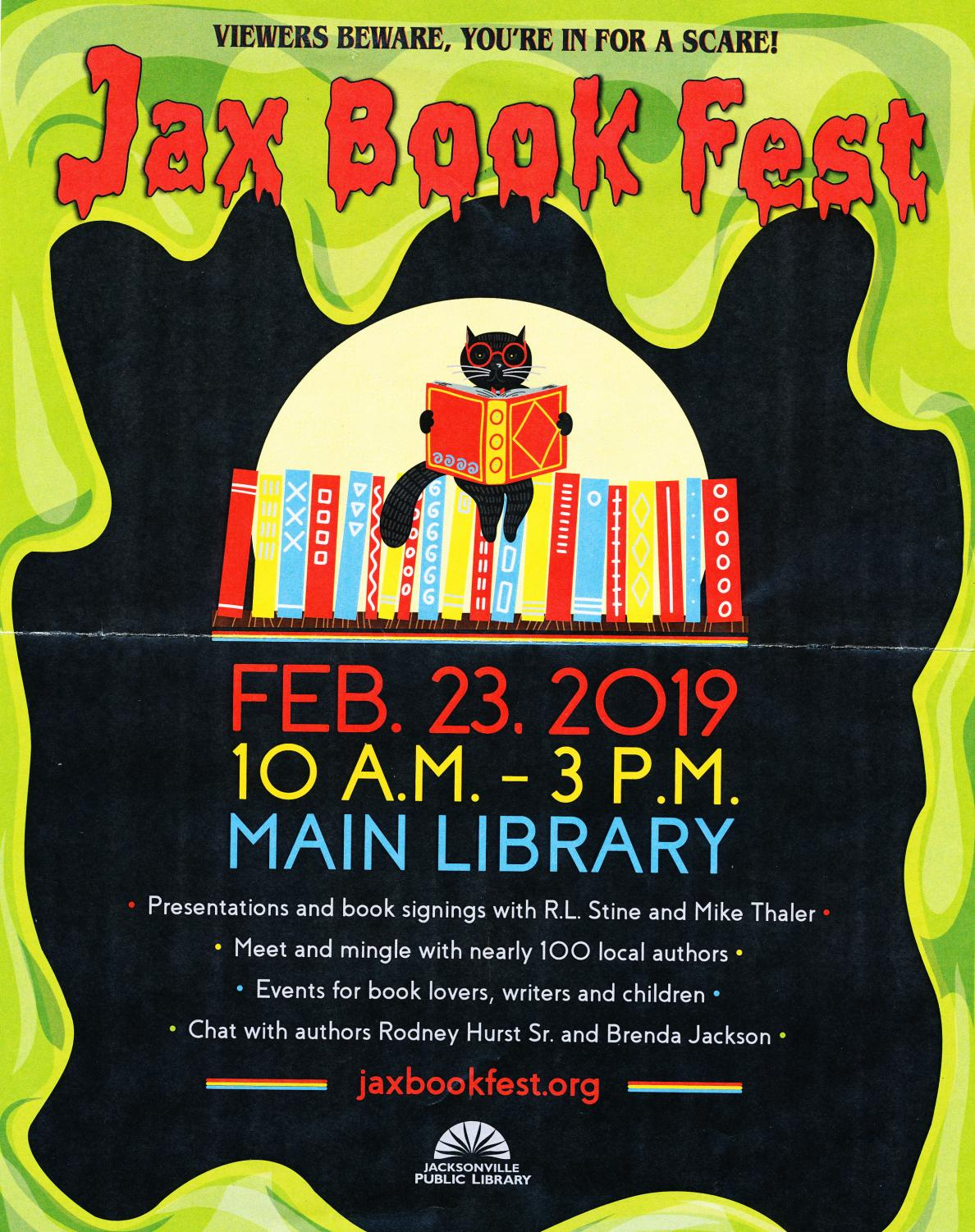 Flyer for the Jax Book Fest, the event with take place at the Jacksonville Public Library