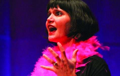 Dr. Sarah Parker performing at the debut of The Vagina Monologues at Terry Concert Hall on Feb. 7