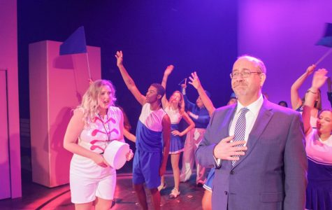 Sarah Stepp playing Elle Woods at the Legally Blonde production with Dean Timothy Snyder