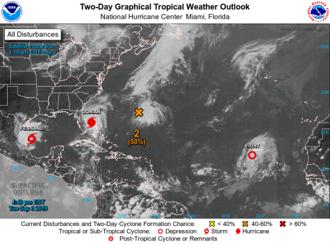 Two-day weather outlook provided by the National Hurricane Center from Sept. 3