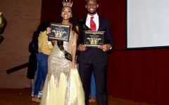 Natavia Reddick (left) and Johnny Cooper (right) pose with their Miss and Mr. Gold awards