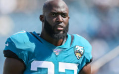 JACKSONVILLE, FLORIDA - OCTOBER 13: Leonard Fournette #27 of the Jacksonville Jaguars looks on before the start of a game against the New Orleans Saints at TIAA Bank Field on October 13, 2019 in Jacksonville, Florida. (Photo by James Gilbert/Getty Images)