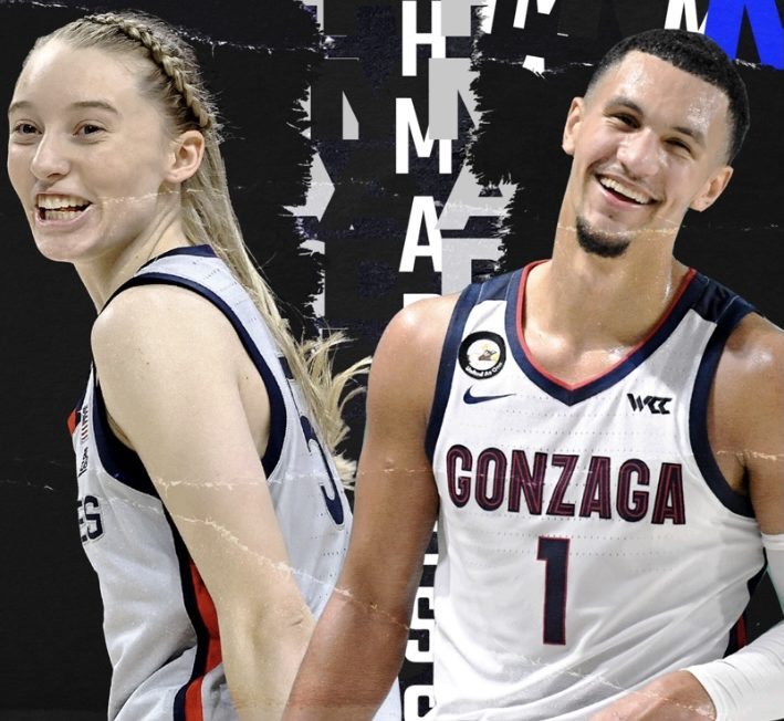 Paige+Bueckers+from+UCONN+and+Jalen+Suggs+from+Gonzaga.+